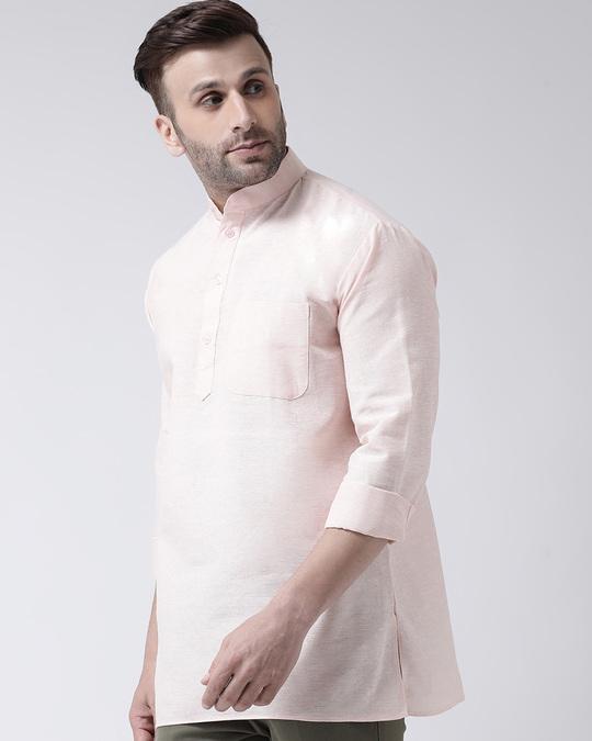 Shop Mens Pure Cotton Solid Short Kurta In Full Sleeve-Back