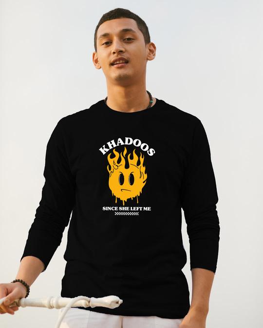 Shop Khadoos Full Sleeve T-Shirt Black-Front