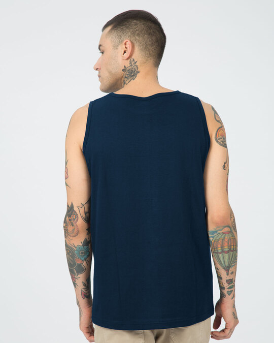 Shop Khadoos Round Neck Vest Navy Blue-Back