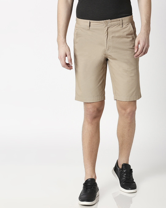 Shop Khaki Textured Men's Shorts-Back