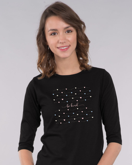 Shop Kindness And Love Round Neck 3/4th Sleeve T-Shirt-Front