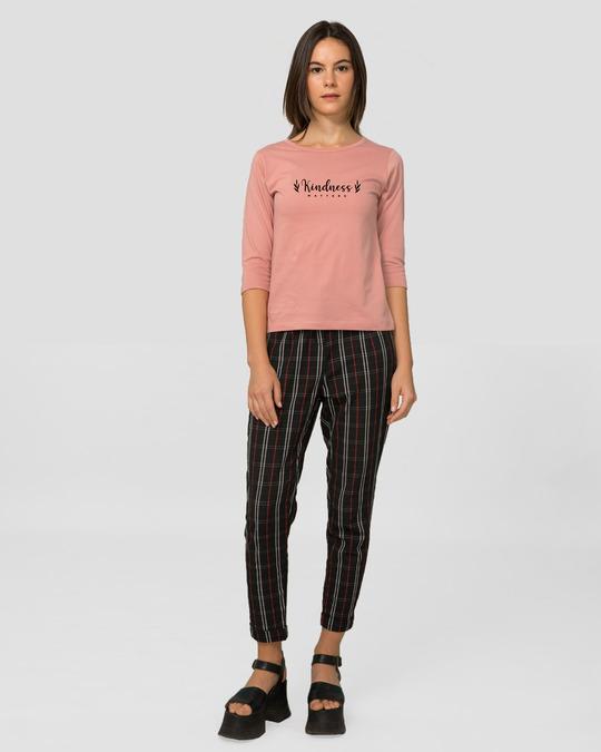 Shop Kindness Matters Round Neck 3/4 Sleeve T-Shirts Misty Pink-Design
