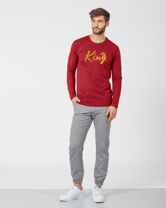 Shop King Gold Print Full Sleeve T-Shirt-Full