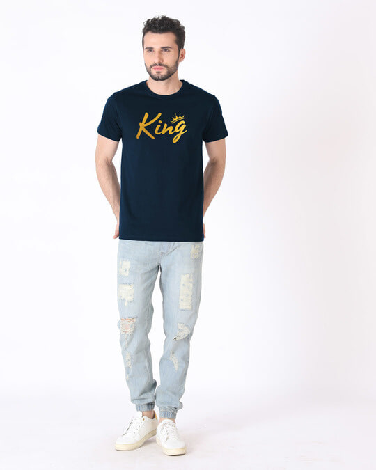 Shop King Gold Print Half Sleeve T-Shirt