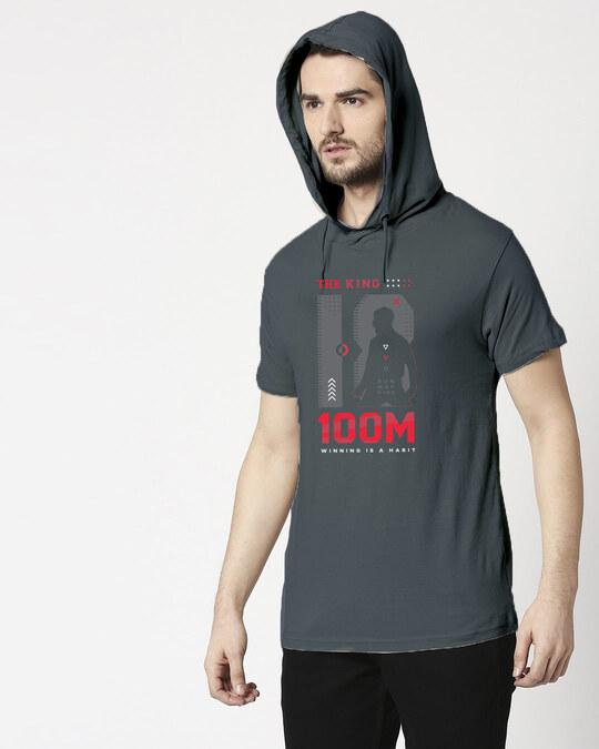 Shop King K 100M Half Sleeve Hoodie T-shirt Nimbus Grey-Front
