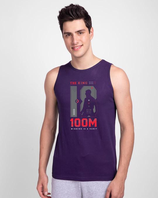 Shop King K 100M Round Neck Vest Parachute Purple -Back