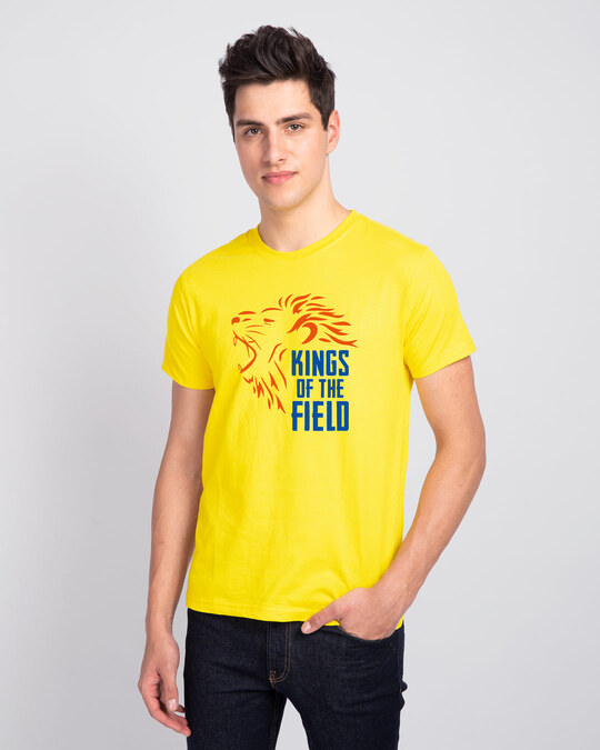 Shop Kings Of The Field Half Sleeve T-Shirt Pineapple Yellow-Front