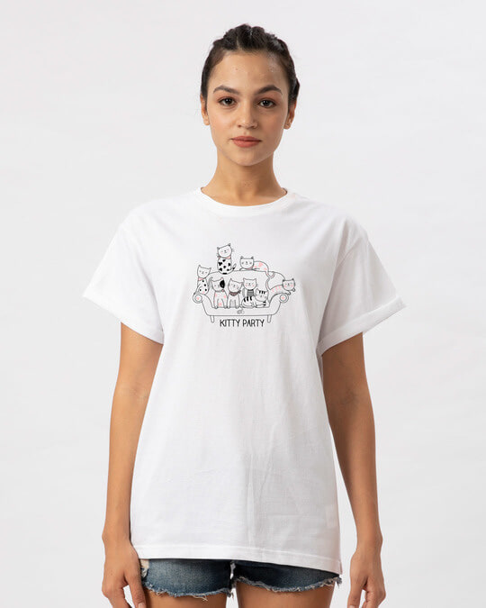 Shop Kitty Party Boyfriend T-Shirt-Front