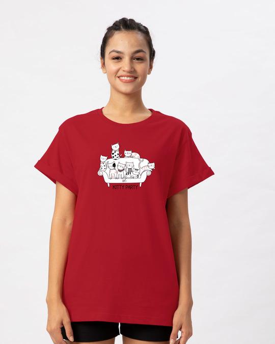 Shop Kitty Party Boyfriend T-Shirt-Front
