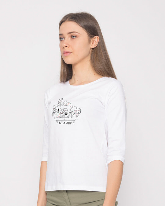 Shop Kitty Party Round Neck 3/4th Sleeve T-Shirt-Back