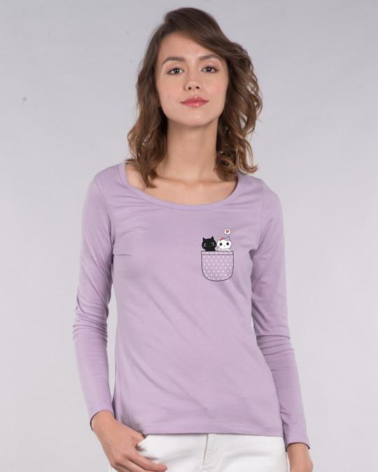 Shop Kitty Pocket Love Scoop Neck Full Sleeve T-Shirt-Back