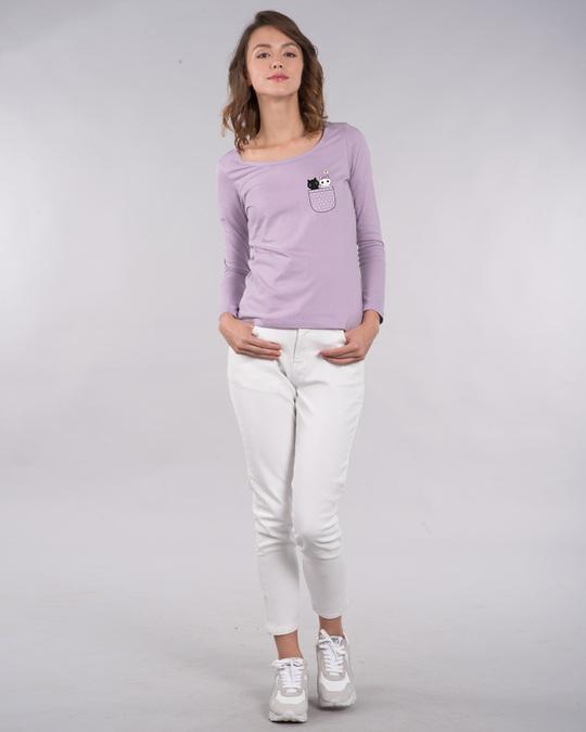 Shop Kitty Pocket Love Scoop Neck Full Sleeve T-Shirt-Full