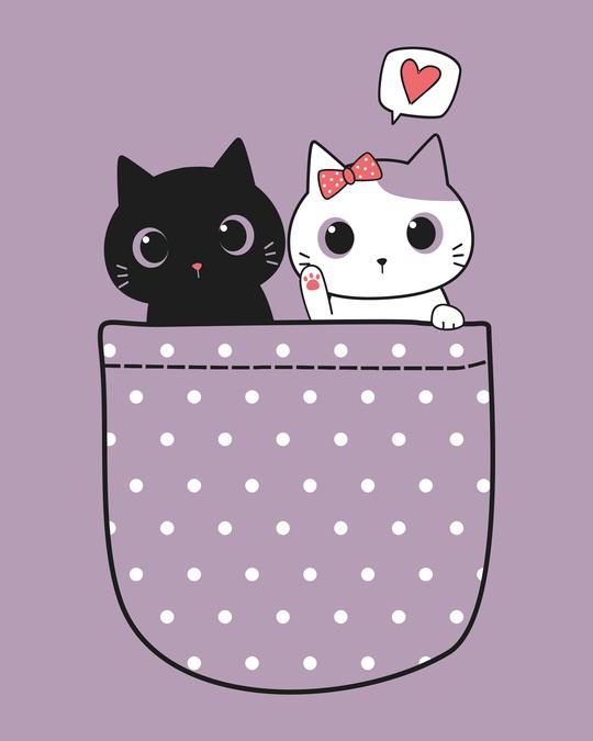 Shop Kitty Pocket Love Scoop Neck Full Sleeve T-Shirt