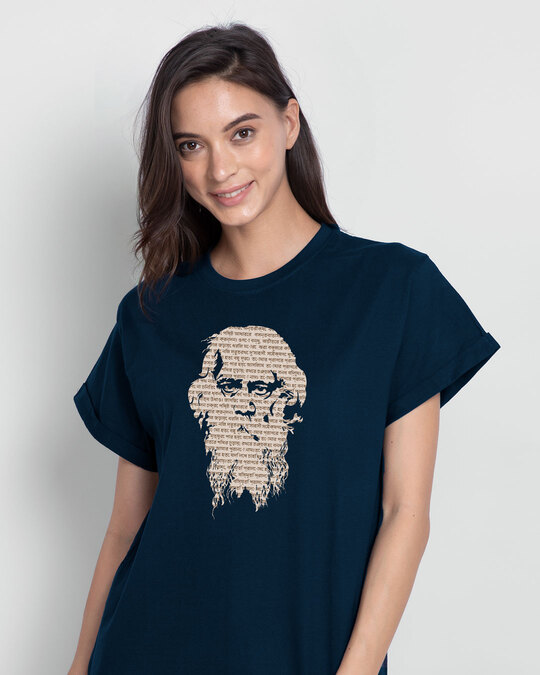 Shop Kobiguru Boyfriend T-Shirt Navy Blue-Front