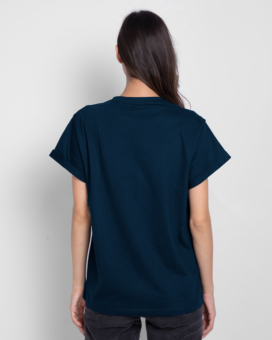 Shop Kobiguru Boyfriend T-Shirt Navy Blue-Back