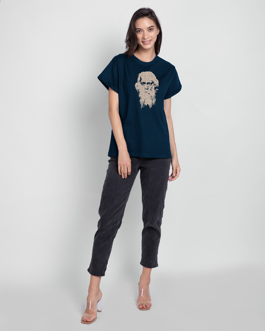 Shop Kobiguru Boyfriend T-Shirt Navy Blue-Design