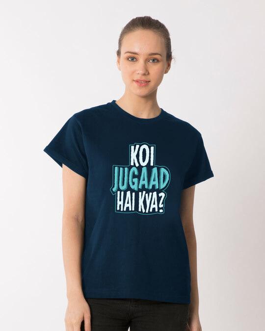 Shop Koi Jugaad Hai Kya Boyfriend T-Shirt-Front