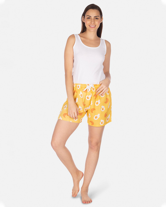 Shop Smugglerz Women's Eggs & Croissants Boxer Yellow-Full