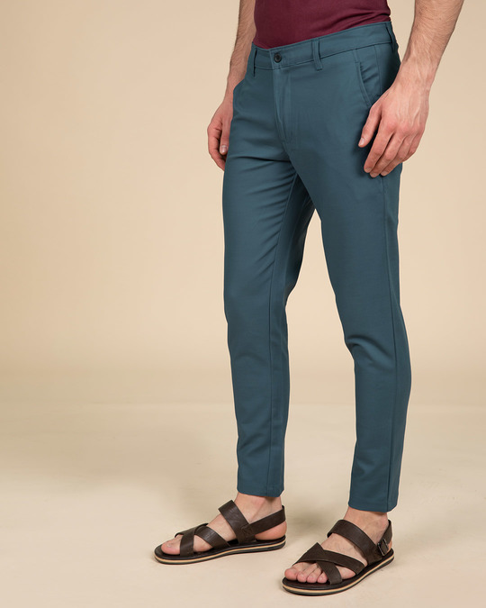 Shop Lapis Blue Slim Fit Cotton Chino Pants-Back