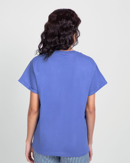 Shop Lash Porbe Pochinki Te Boyfriend T-Shirt Blue Haze-Back