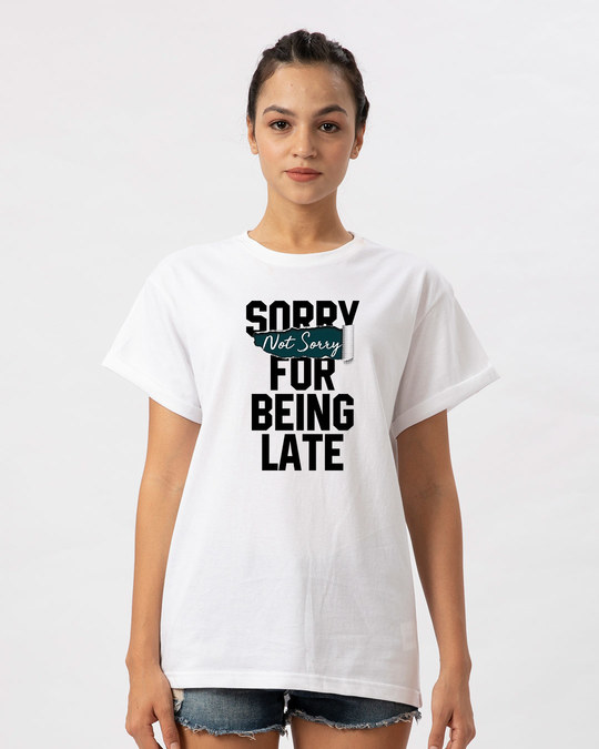 Shop Late And Not Sorry Boyfriend T-Shirt-Front