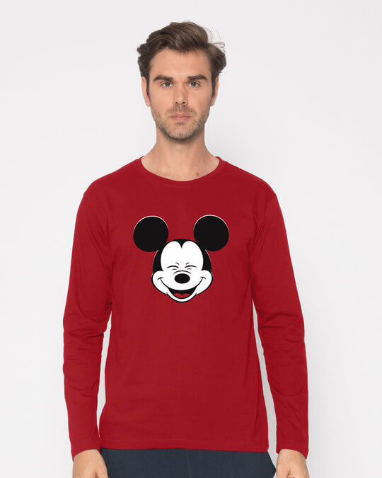 Shop Laughing Mickey Full Sleeve T-Shirt (DL)-Front
