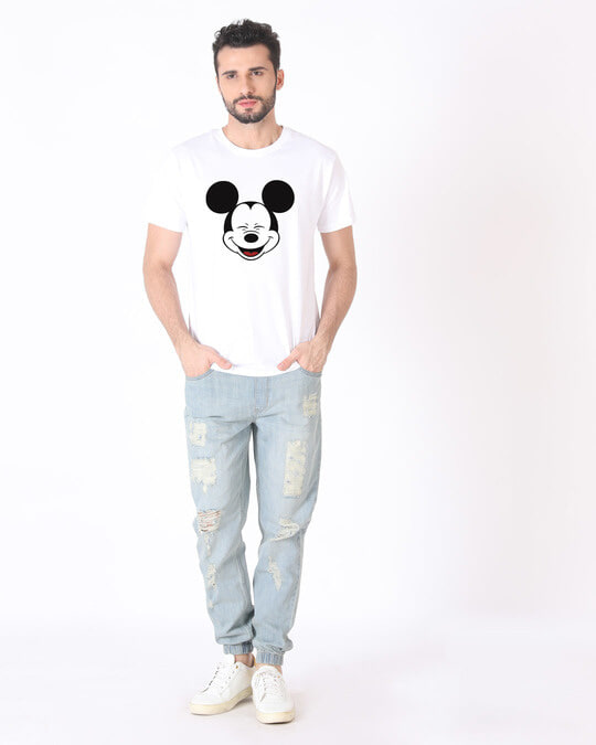 Shop Laughing Mickey Half Sleeve T-Shirt (DL)