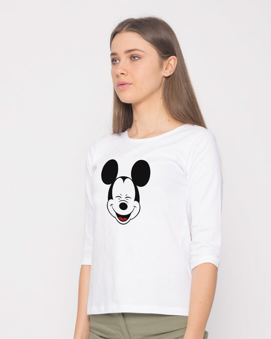Shop Laughing Mickey Round Neck 3/4th Sleeve T-Shirt (DL)-Back