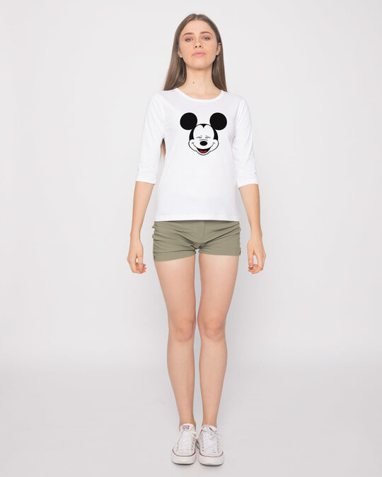 Shop Laughing Mickey Round Neck 3/4th Sleeve T-Shirt (DL)-Full