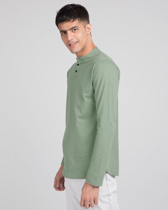 Shop Laurel Green Full Sleeve Henley T-Shirt-Back