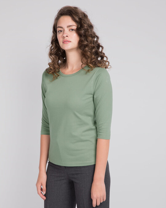 Shop Laurel Green Round Neck 3/4th Sleeve T-Shirt-Back