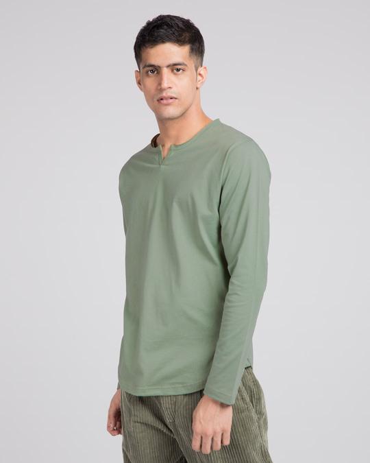 Shop Laurel Green Slit Neck Full Sleeve Henley T-shirt-Back