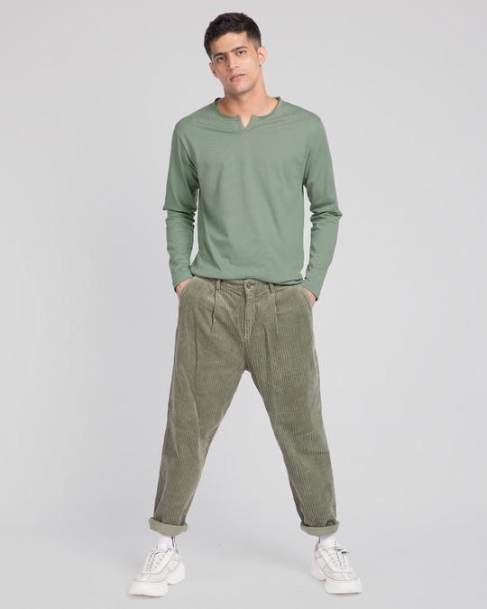Shop Laurel Green Slit Neck Full Sleeve Henley T-shirt-Full