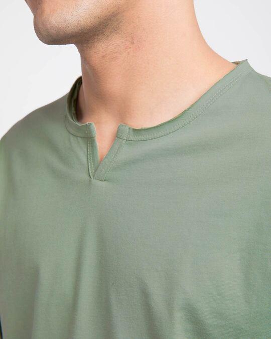 Shop Laurel Green Slit Neck Full Sleeve Henley T-shirt