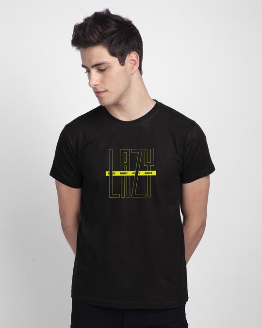 Shop Lazy Always Half Sleeve T-Shirt Black-Back