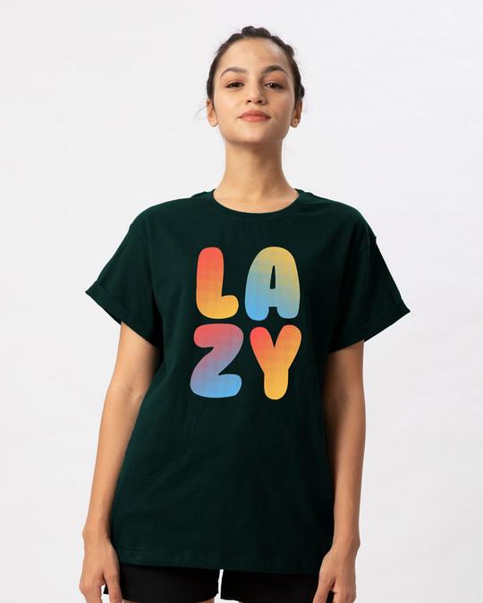 Shop Lazy Colorful Boyfriend T-Shirt-Front