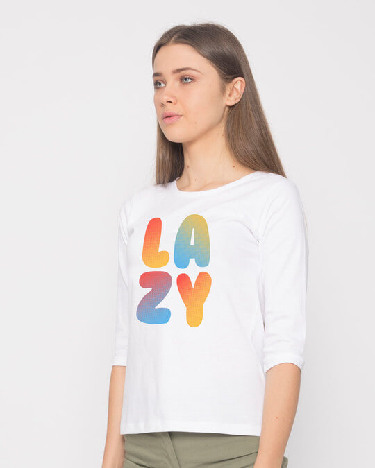 Shop Lazy Colorful Round Neck 3/4th Sleeve T-Shirt-Back