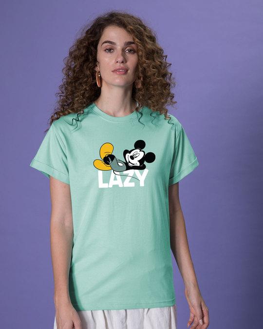 Shop Lazy Mickey Boyfriend T-Shirt (DL)-Front