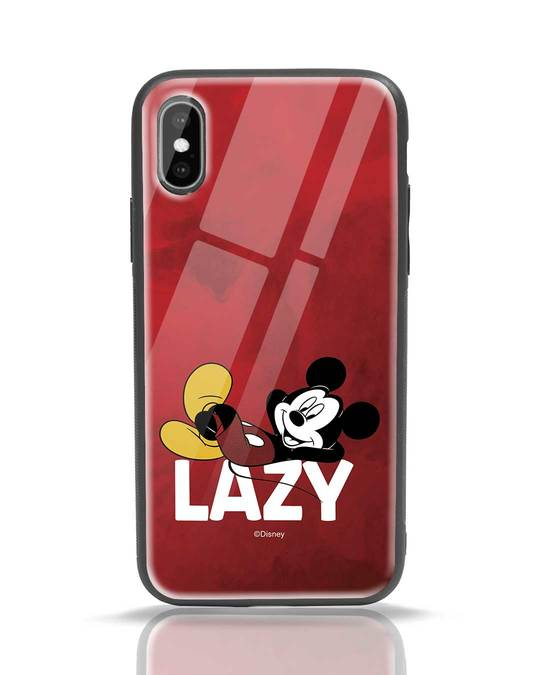 Shop Lazy Mickey iPhone X Glass Mobile Cover-Front