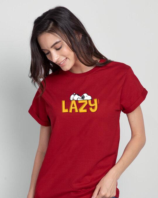 Shop Lazy Snoopy Boyfriend T-Shirt (PNTL) Bold Red-Front