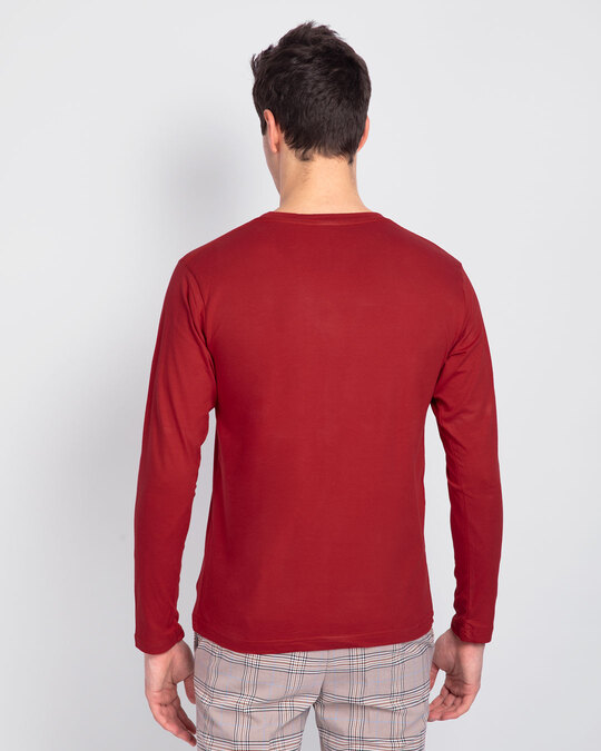 Shop Lazy Snoopy Full Sleeve T-Shirt (PNTL) Bold Red-Back