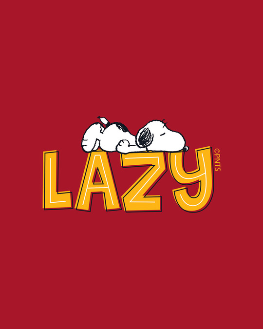 Shop Lazy Snoopy Full Sleeve T-Shirt (PNTL) Bold Red-Full