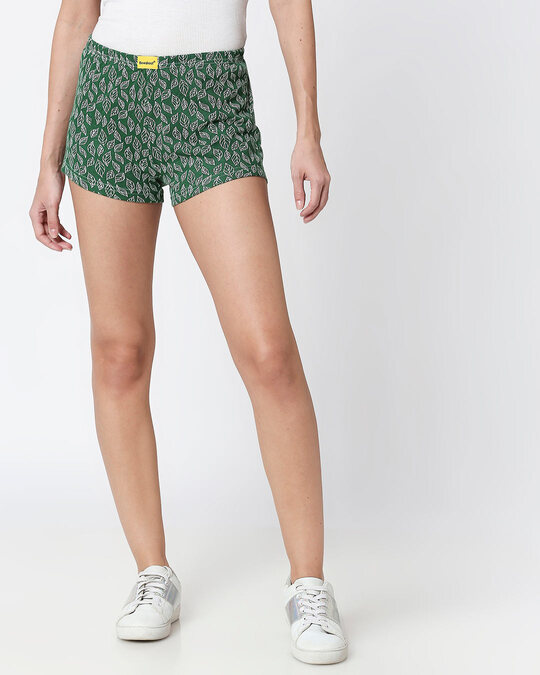 Shop Leaves Pattern Green Knitted Boxers-Front