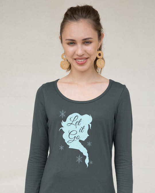 Shop Let It Go Scoop Neck Full Sleeve T-Shirt (FROZEN)-Front