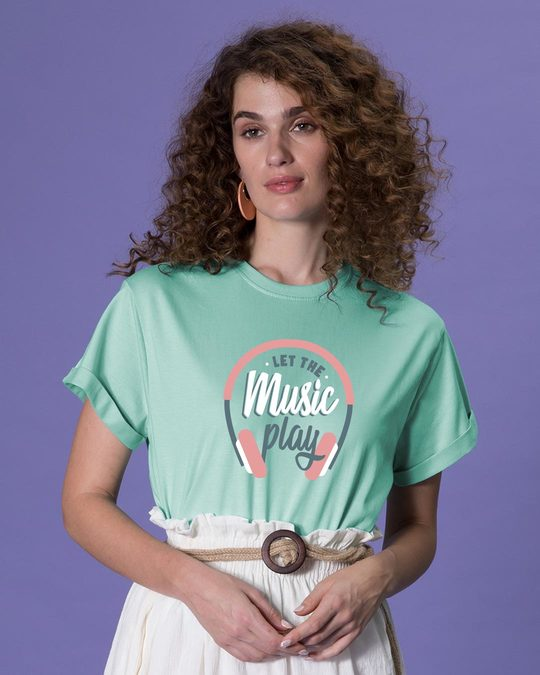Shop Let It Play Headphones Boyfriend T-Shirt-Front