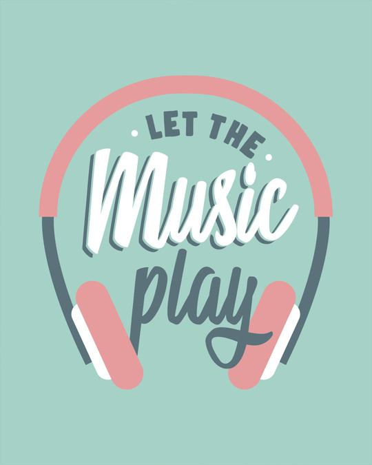 Shop Let It Play Headphones Round Neck 3/4th Sleeve T-Shirt