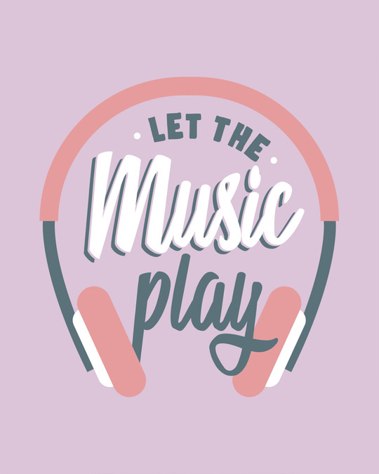 Shop Let It Play Headphones Scoop Neck Full Sleeve T-Shirt