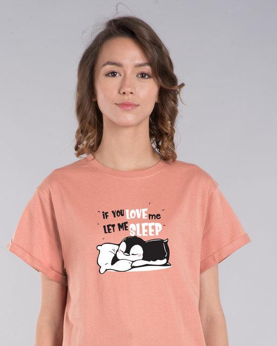 Shop Let Me Sleep Penguin Boyfriend T-Shirt-Front