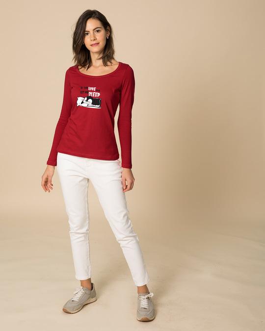 Shop Let Me Sleep Penguin Scoop Neck Full Sleeve T-Shirt-Design