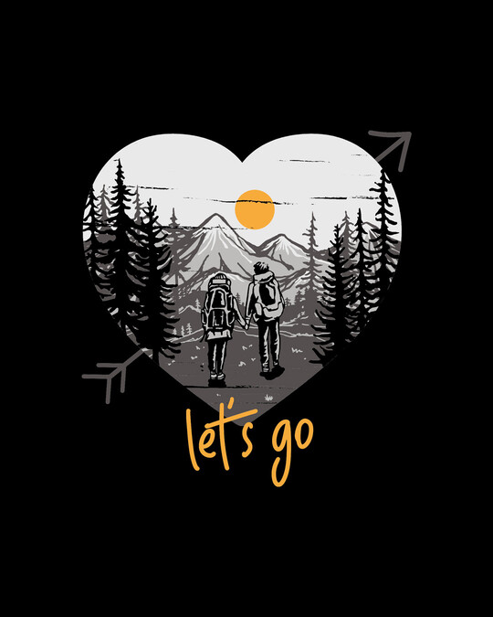 Shop Let's Go Heart 3/4th Sleeve T-Shirt